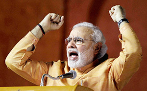 Narendra Modi at an election rally