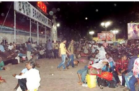 Passengers stranded outside Brahmapur station