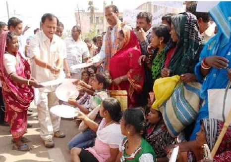 Protest by disabled people of Phailin-hit Ganjam