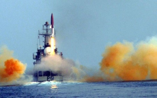 File photo of  Dhanush being fired from a ship