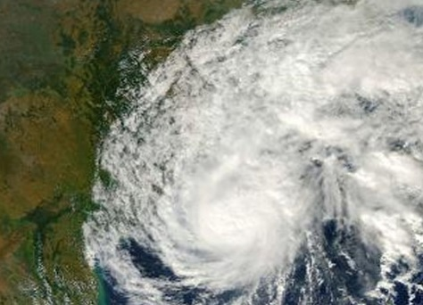 Sat picture of cyclone Helen as it strikes AP coast