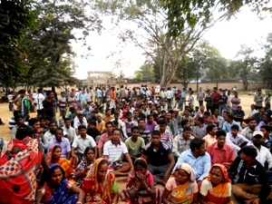 Villagers on protest dharna in front of sub-collector's office