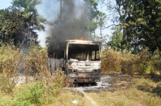 Bus set on fire by Maoists in Telerai in Malkangiri