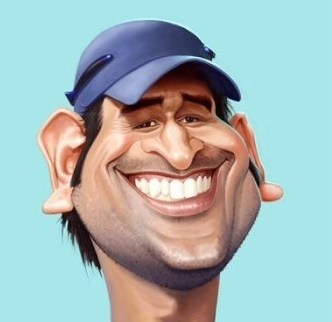 Caricature of Dhoni by Mahesh Nambiar -courtesy irancartoon