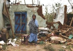 House damaged by cyclone Phailin