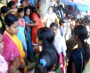 Girl boarders of Kolnara Sevashram leaving hostel