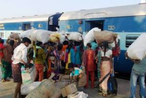 File pic of migrant labourers boarding a train to Hyderabad