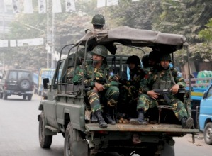 Army patrol on a street during the 10th parliament elections in Bangladesh ( IANS )