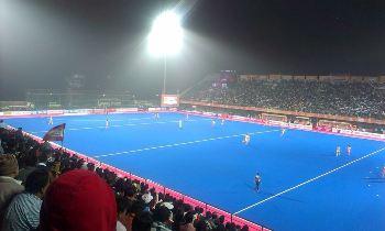 A Hockey India League match under floodlights at the Kalinga Stadium recently