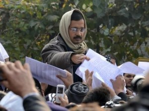 Kejriwal at Janata Durbar (pic courtesy: The Hindu )