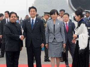 Japanese PM Shinzo Abe and his wife Akie Abe on arrival in New Delhi