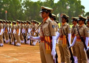 Women cadets at the passing-out parade