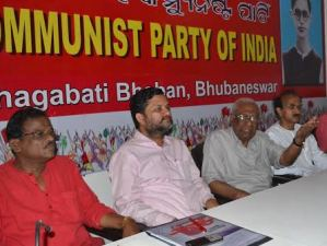 AB Bardhan with state CPI leaders on Thursday