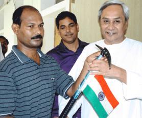 Ganesh Jena with CM Naveen Patnaik
