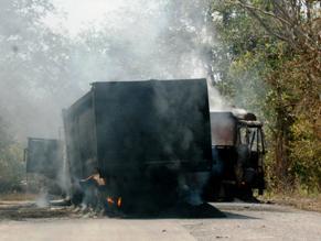 CRPF patrol vehicles after Maoist attack ( IANS photo)