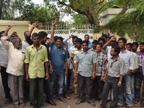 Supporters of ticket aspirants outside Naveen Niwas