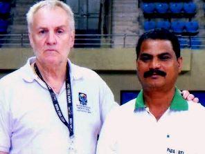 Ranjan Pradhan (R) with FIBA instructor Belson Isley