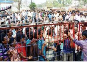 Angry protesters at Jeypore police station on Friday