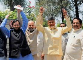 File pic of TDP, BJP leaders on April 6 ( IANS )