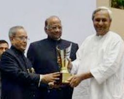 File Pic: Chief Minister Naveen Patnaik receiving the Krishi Karman award from President Pranab Mukherjee last year
