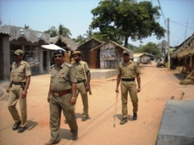 Police guard Natabarpur after the group clash