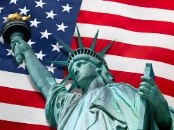 Statue of Liberty with American flag