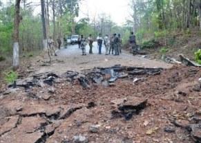 Spot of landmine blast in Darbha ( IANS pic)
