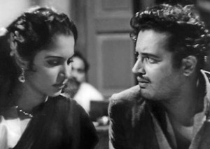 Waheeda with Guru Dutt in 'Pyasa'