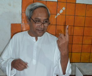 Naveen Patnaik at the polling booth