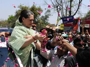 Congress president Sonia Gandhi during a roadshow in Rae Bareli of Uttar Pradesh on April 2, 2014. (Photo: IANS)