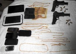 seized arms and phones