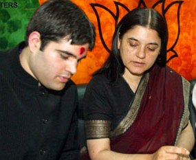 Maneka with son Varun ( courtesy:indoscopy.com)