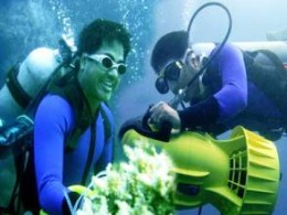 A still from Sabir's under water video 'Jai Odisha'