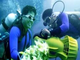 A still from Sabir's under water video 'Jai Odisha'
