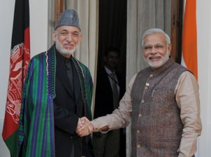 The Prime Minister, Shri Narendra Modi with the President of the Islamic Republic of Afghanistan, Mr. Hamid Karzai in New Delhi on May 27, 2014.