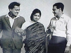 Sarat Pujari, Minati Mishra and the author in 'Sadhana'