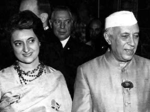 With daughter Indira Gandhi
