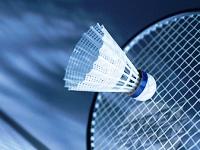 Shuttlecock hitting badminton racquet