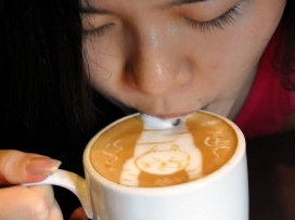 sipping coffee
