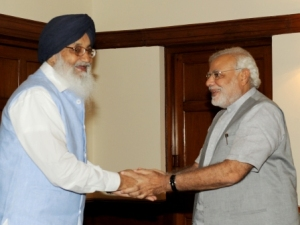 The Chief Minister of Punjab, Shri Parkash Singh Badal calling on the Prime Minister, Shri Narendra Modi, in New Delhi on June 13, 2014.