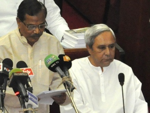Finance minister Pradip Amat reading out budget speech ( Pic Biswaranjan Mishra)
