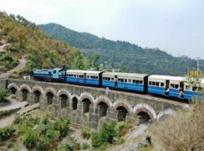 Railway Train in hilly terrain