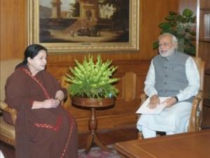 The Chief Minister of Tamil Nadu, Ms. J. Jayalalithaa calling on the Prime Minister, Shri Narendra Modi, in New Delhi on June 03, 2014.
