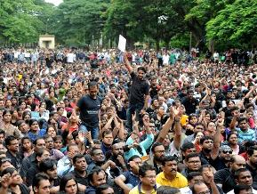 File pic of protests in Bangalore over the rape