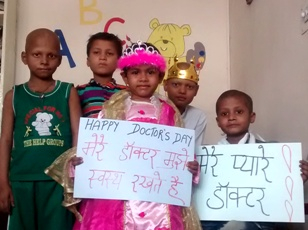 Children with cancer celebrate National Doctors Day in Delhi (IANS pic)