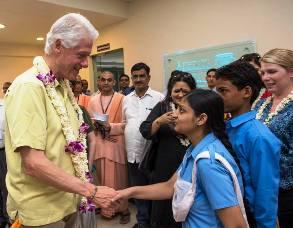 Clinton iinteracting-with-kids