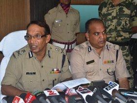 DGP Sanjeev Marik briefing the media.