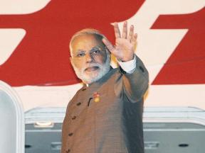 Prime Minister Narendra Modi leaves Fortaleza, emplanes for Brasilia to participate in the Sixth BRICS Summit on July 15, 2014. Sixth BRICS Summit is being held in Brazil.