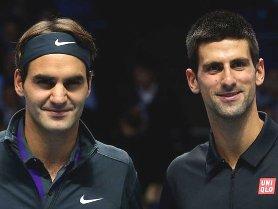 Novak Djokovic (R) and Roger Federer