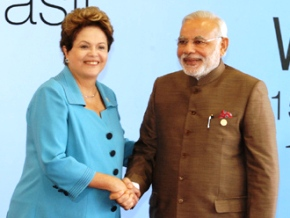 The Prime Minister, Shri Narendra Modi being received by the President of Brazil, Ms. Dilma Rousseff, on his arrival at the Ceara Events Centre for the Sixth BRICS Summit, at Fortaleza, Brazil on July 15, 2014.